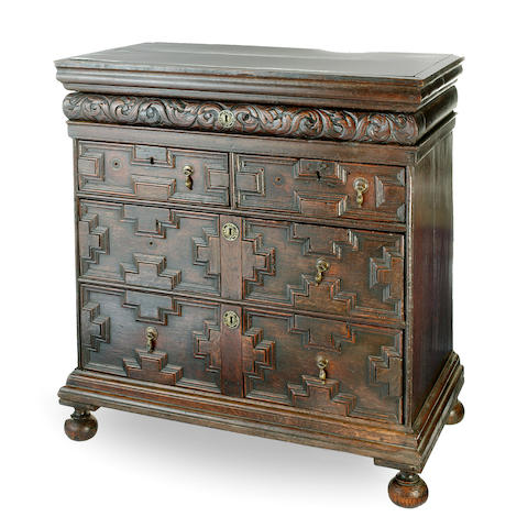 A Charles II oak chest of drawers late 17th century