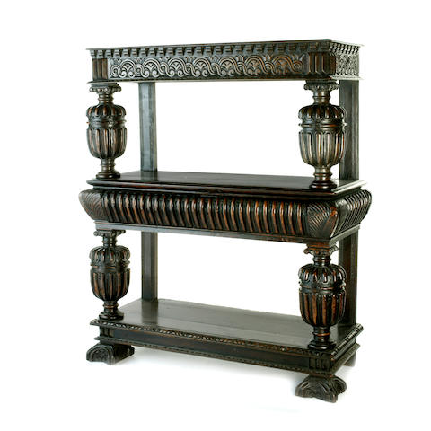 A Jacobean carved oak three tier buffet 17th century