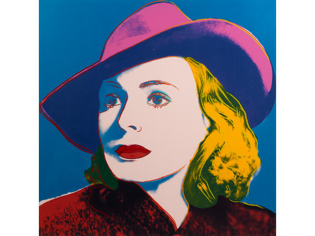 Andy Warhol (American, 1928-1987) Ingrid Bergman (with hat) Screenprint, in colours, on Lenox Museum Board, signed and numbered 220/250 in pencil, printed by Rupert Jansen, New York, published by Galerie Börjeson, Malmö, Sweden; 962 x 962 (38 x 38in)(SH)