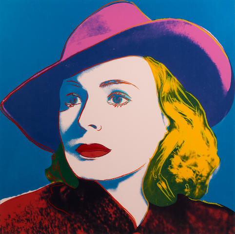 Andy Warhol (American, 1928-1987) Ingrid Bergman (with hat) Screenprint, 1983, in colours, on Lenox Museum Board, signed and numbered 220/250 in pencil, printed by Rupert Jansen, New York, published by Galerie Börjeson, Malmö, Sweden, 962 x 962 (38 x 38in)(SH)