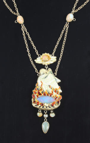 An Arts and Crafts gold, enamel and gem-set necklace The clasp stamped '15ct',