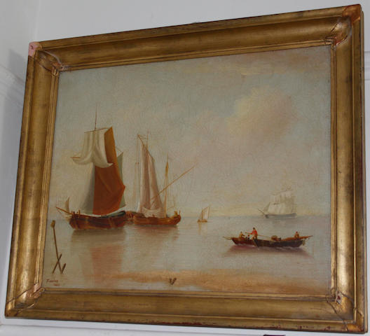 English School, 19th Century Shipping in calm waters
