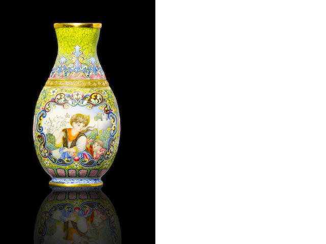 A magnificent and extremely rare Beijing enamel 'European subject' vase Qianlong blue-enamel four-character mark and of the period