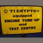 An enamel sign for 'TI Cryption'