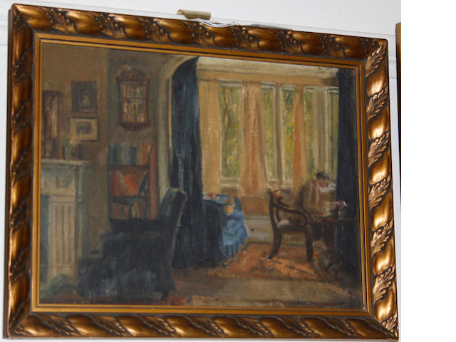 English School (20th Century) Figure at study in an interior