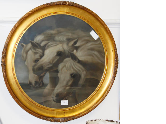 English School (late 19th Century) Study of three horses' heads 48.5cm diameter,