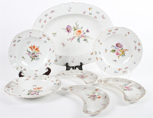 A German porcelain part dinner service  Late 19th century