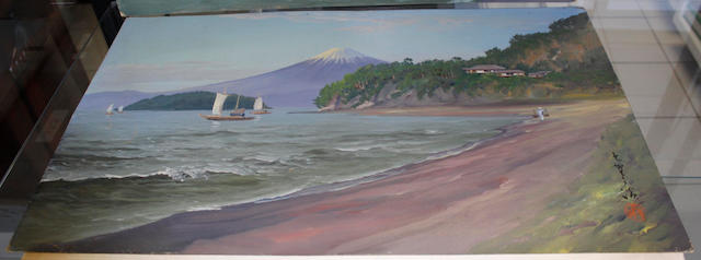Japanese School (20th Century) Sailing boats before Mount Fuji