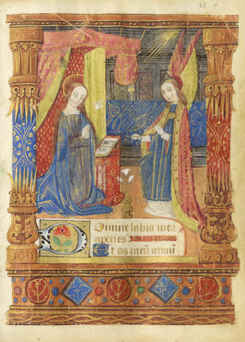 ILLUMINATED MANUSCRIPT BOOK OF HOURS, Use of Rouen, in Latin, illuminated manuscript on vellum