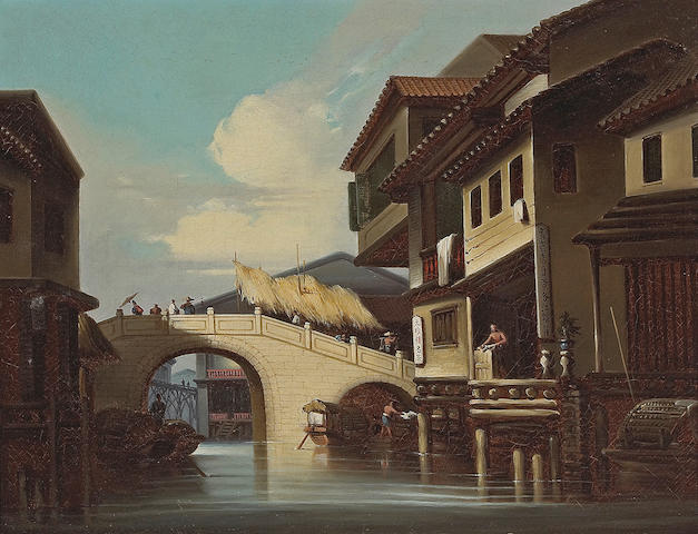 School of George  Chinnery, RHA  (British, 1774-1852) Bridge at Honan, Canton  19th Century 44.5cm x 60cm (17 1/2in x 23 1/2in)