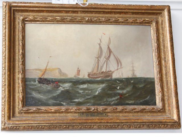 Attributed to William Callcott Knell (British, 1830-1876) Sailing vessels off a coast, and another similar, a pair,