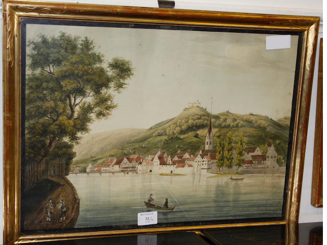 Dutch School, 19th Century River landscape, watercolour (hallway), together with three other watercolours by Achilles Bentz, T.J. Biederman and another unsigned. (4)