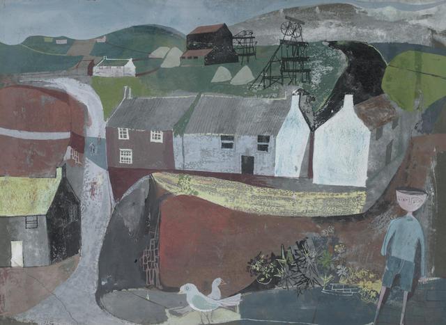 John Minton (British, 1917-1957) Cornish mining village 27.5 x 37.5 cm. (10 3/4 x 14 3/4 in.)