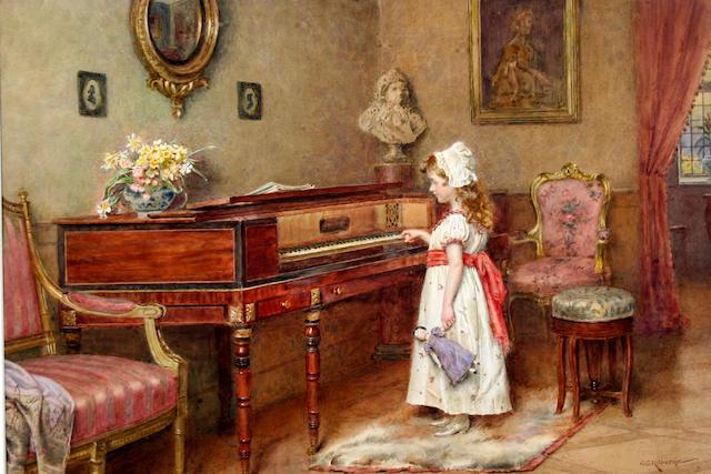 George Goodwin Kilburne, RI, RBA (British, 1839-1924) Piano practice