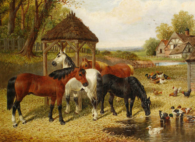 Follower of John Frederick Herring, Jnr. (British, 1815-1907) Horses and ducks in a farmyard