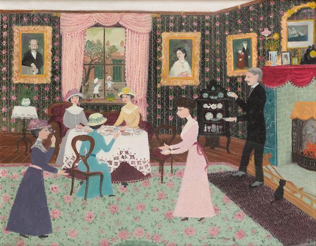 Helen Bradley (British, 1900-1979) We went to Miss Carter's for tea 41 x 51 cm. (16 x 20 in.)
