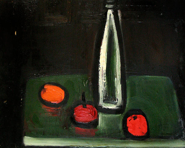 Theodore Major (British, 1908-1999) White bottle, red apples