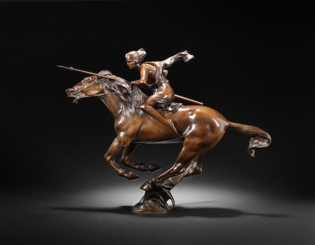 Bruno Zach 'Warrior Woman on Horseback' a Patinated Bronze Study, circa 1920