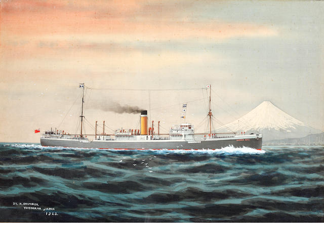 H. Shimidzu (Japanese), 19th Century A portrait of the steamer SS Langton Hall off Fuji