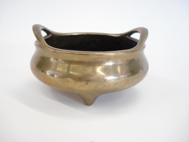 A polished bronze censer Xuande intaglio six charater mark but later,