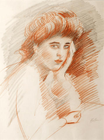 Paul César Helleu (French, 1859-1927) A Parisian - study of a young girl, possibly the artist's daug