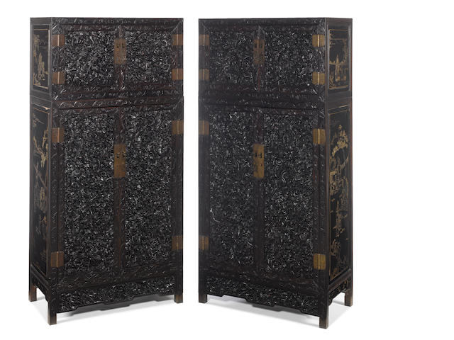 Pair - A magnificent pair of zitan lacquer chests on cabinets 19th century