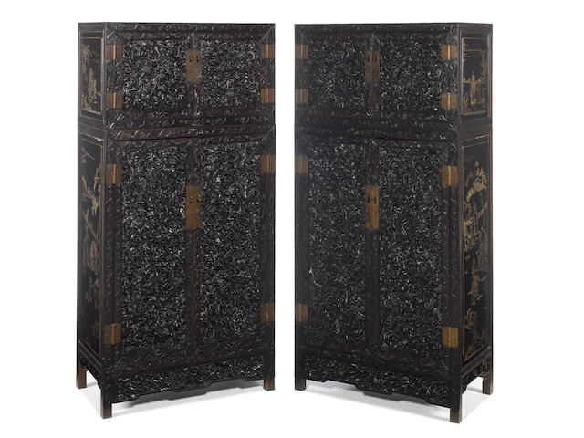 A magnificent pair of zitan lacquer chests on cabinets 19th century