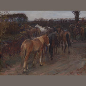Sir Alfred James Munnings P.R.A., R.W.S. (British, 1878-1959) Gypsy ponies 35.5 x 46 cm. (14 x 18 in.)