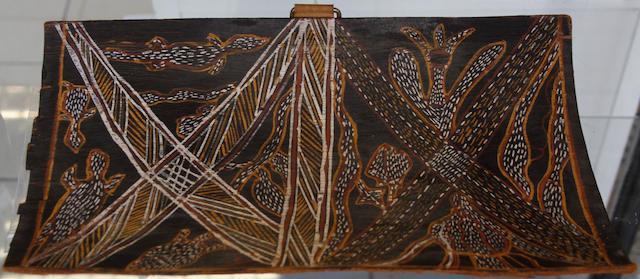 Maria Grazia - Cherub in a dolphin drawn chariot, signed, watercolour, 10cm tondo, also a companion, a pair, and an Aboriginal bark painting. (3)