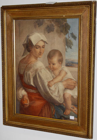 19th Century School - A mother and baby in an Italian landscape, watercolour, 53 x 38cm.