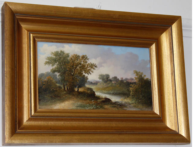 British School, 19th Century  River landscape with figure angling, and another similar a pair,
