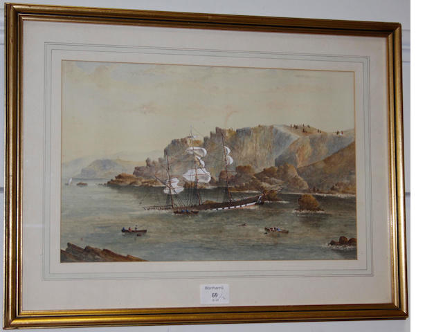 English School, 19th Century  Minehead watercolour and bodycolour, 31 x 46cm; together with another watercolour of a shipwreck,