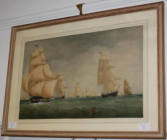 Charles Taylor Jnr. (British, active 1841-1883) Sailing fleet