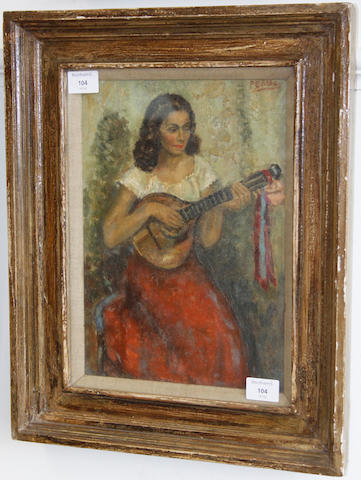 British School, circa 1900 Young woman playing a mandolin