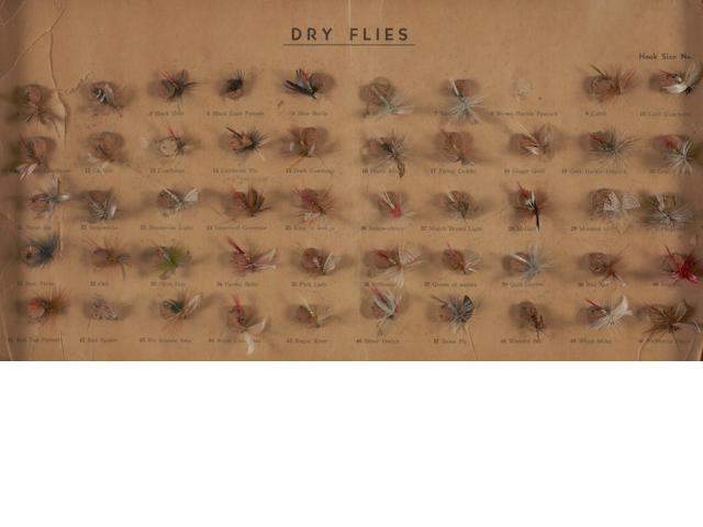 A framed display of dry flies