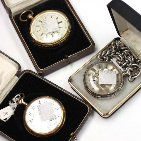 An 18ct gold cased open faced chronograph pocket watch