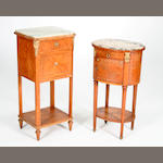 Two marble-topped and quarter-veneered satinwood pot cupboards, late 19th Century, French