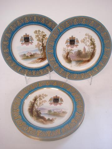 A set of five armorial decorated plates of Indian interest 19th century