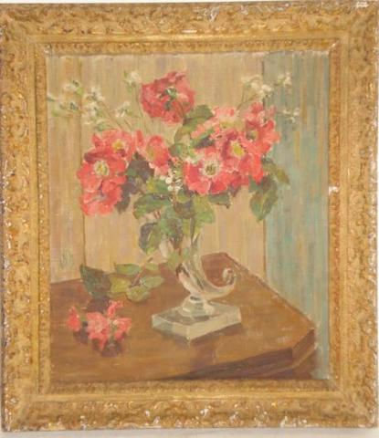 English School, circa 1930 - Roses in a glass cornucopia vase, bears monogram, oil on canvas, 35 x 29cm.