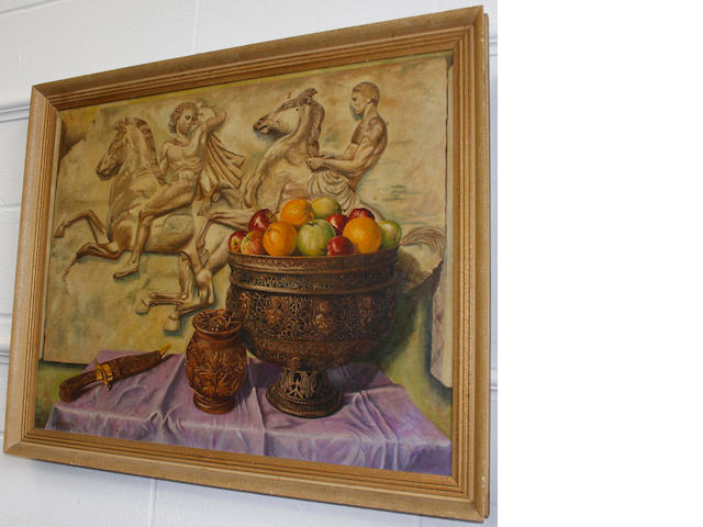 W A Standing, 20th Century - Still life study of fruit in an ornate bowl with a classical frieze behind, signed, oil on canvas, 60 x 75cm, English School, 19th Century - Church interior, indistinctly titled verso, watercolour and an oil on canvas of shipping and attendant craft. (3)