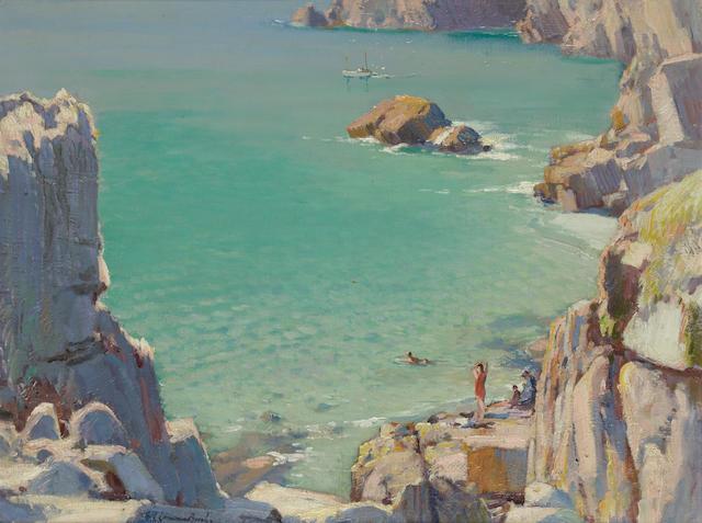 Samuel John Lamorna Birch, R.A., R.W.S., R.W.A. (British, 1869-1955) Bathing Pond, Pedn-e-Vounder 47 x 64 cm. (18 1/2 x 25 1/4 in.)