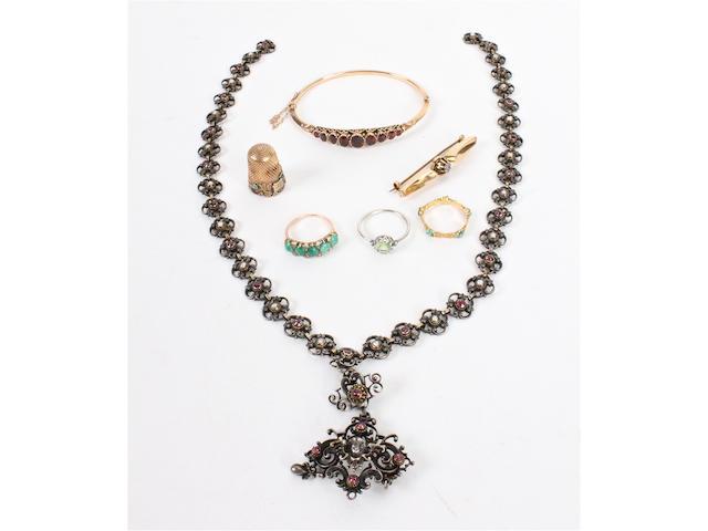 A garnet set bangle