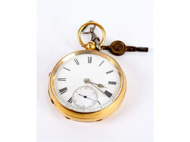 An 18 carat gold open faced lever movement pocket watch