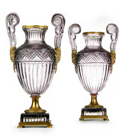 An important pair of Russian ormolu and amethyst coloured cut glass vases  Imperial Glass Manufactory, circa 1830-40