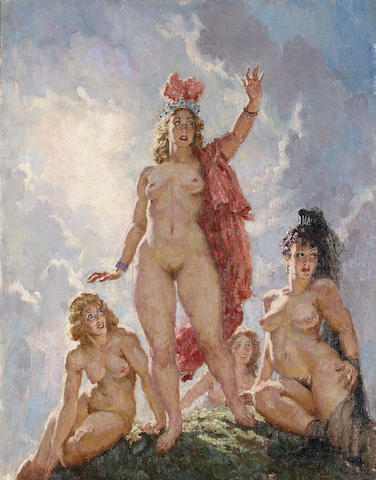 Norman Alfred Williams Lindsay (Australian, 1879-1969) The Amazons Arrive,1940
