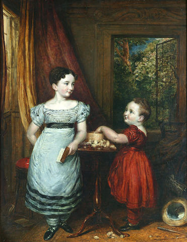 John Linnell (British, 1792-1882) Portrait of Cornelia Maria and Frederick Darling