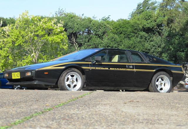 From the collection of The Late The Hon. John Dawson-Damer,1979 Lotus Esprit S2 JPS Edition  Chassis no. 79100223J Engine no. FC907790115037