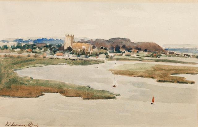 Samuel John Lamorna Birch, R.A., R.W.S., R.W.A. (British, 1869-1955) Christchurch from Mudeford Harb