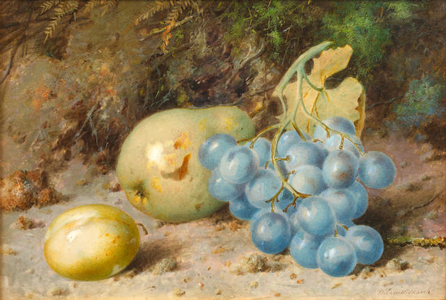 William Cruickshank (British, 1848-1922) Still life of fruit on a bank, and another similar slightly
