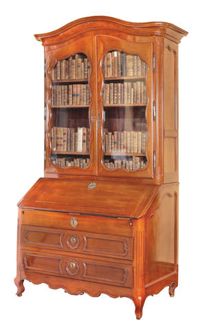 A French provincial 18th century Louis XV mahogany bureau bookcase Probably Bordeaux,